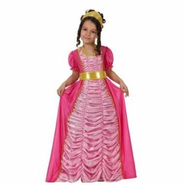 Lange roze prinsessen carnavalskleding kind