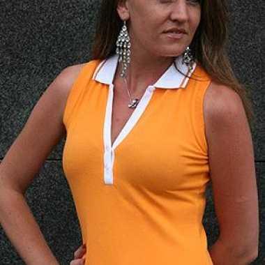 Mouwloze dames polo oranje carnavalskleding
