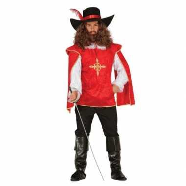 Musketiers carnavalskleding heren rood
