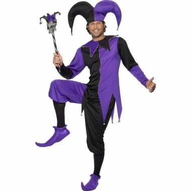 Narren carnavalscarnavalskleding zwart/paars heren