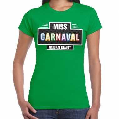 Natural beauty miss carnavalskleding shirt groen dames