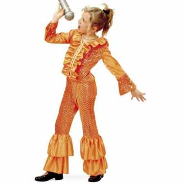 Oranje glitter carnavalskleding kind
