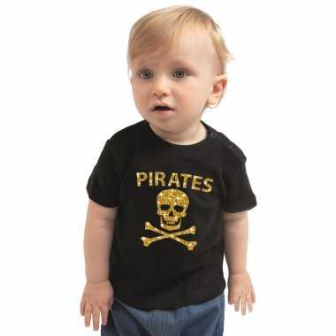Piraten t shirt / carnavalskleding zwart baby ongen / meise gouden glitter bedrukking