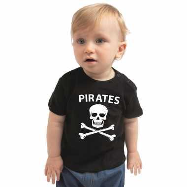 Piraten t shirt / carnavalskleding zwart baby ongen / meise