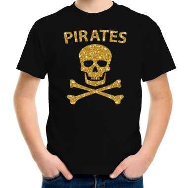 Piraten t shirt zwart kids gouden glitter bedrukking carnavalskleding