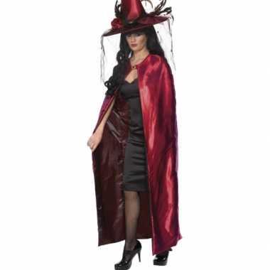 Reversible heksen cape rood carnavalskleding