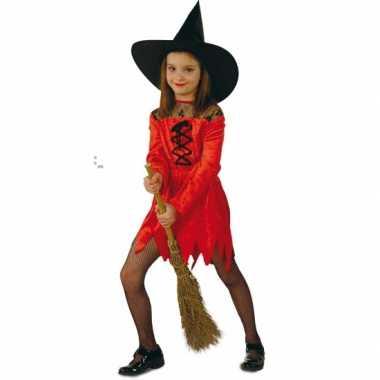 Rode heksen carnavalskledingen kind