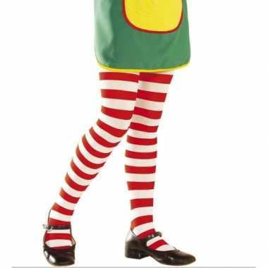 Rood witte kinder panty carnavalskleding