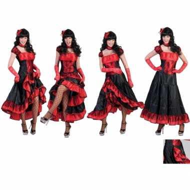 Rood zwarte saloon carnavalskleding