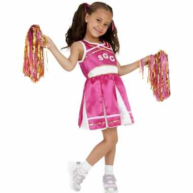 Roze cheerleader carnavalskleding kind