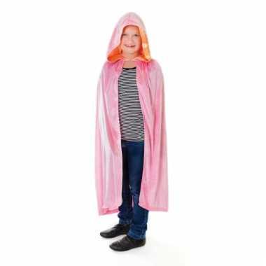 Roze kindercape fluweel kind carnavalskleding
