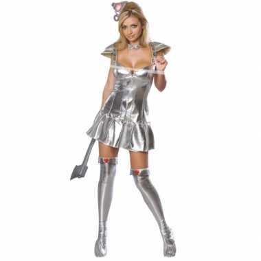 Sexy zilveren blikken vrouw carnavalskleding