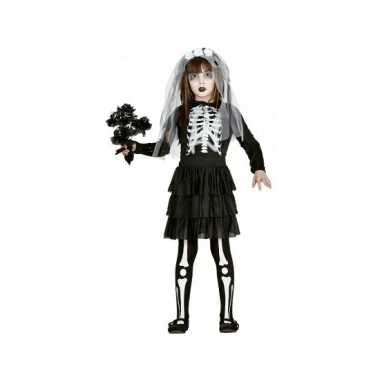 Skelet bruid kind carnavalskleding zwart wit