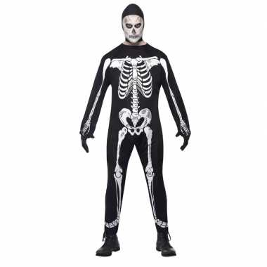 Skelet carnavalskleding zwart/wit volwassenen