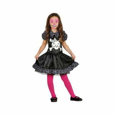 Skelet meises carnavalskleding zwart wit stippen