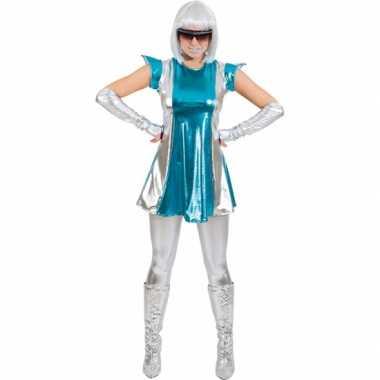 Space carnavalskleding blauw/zilver dames