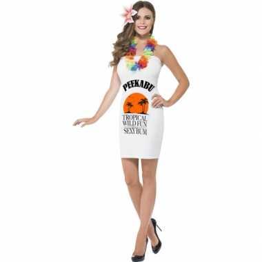 Witte dames carnavalskleding peekabu