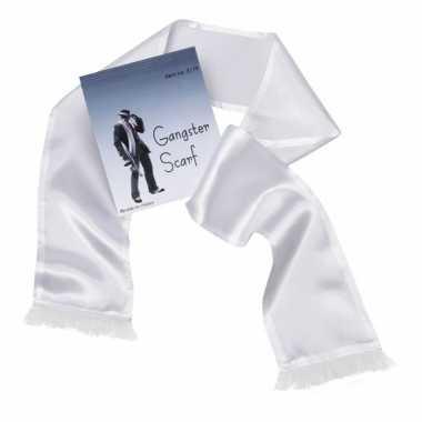 Witte maffia sjaal kwastjes carnavalskleding