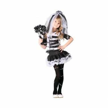 Zombie bruid meises carnavalskleding zwart wit
