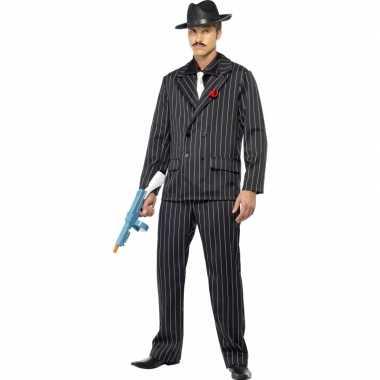 Zwart gangster carnavalskleding heren