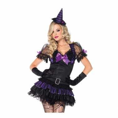 Zwart/paars heksen carnavalskleding dames