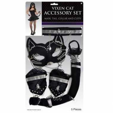 Zwart zilver stoeipoes/katten carnavalskledingsete