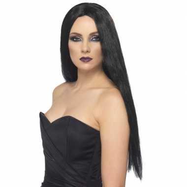 Zwarte dames heksenpruik carnavalskleding