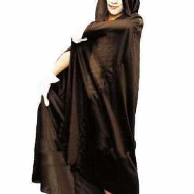 Zwarte Halloween cape capuchon kind carnavalskleding