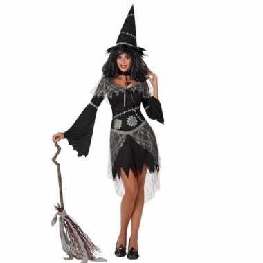 Zwarte heksencarnavalskleding hoed dames