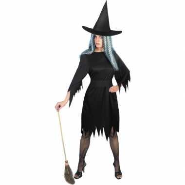 Zwarte korte heksen carnavalskleding