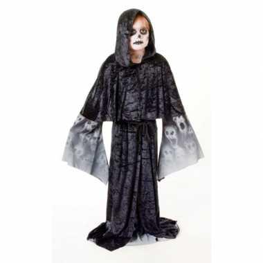 Zwarte zombie cape kind carnavalskleding