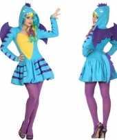 Carnavalskleding blauwe draak dames