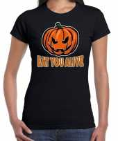 Halloween eat you alive horror shirt zwart dames carnavalskleding