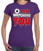 Halloween i am watching you horror shirt paars dames carnavalskleding