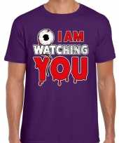 Halloween i am watching you horror shirt paars heren carnavalskleding