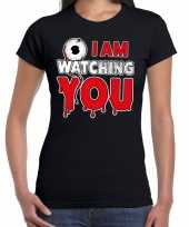 Halloween i am watching you horror shirt zwart dames carnavalskleding