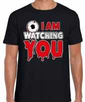 Halloween i am watching you horror shirt zwart heren carnavalskleding