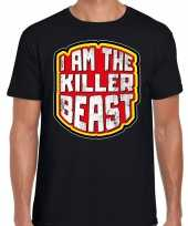 Halloween killer beast horror shirt zwart heren carnavalskleding