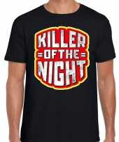 Halloween killer of the night horror shirt zwart heren carnavalskleding