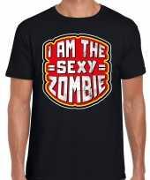 Halloween sexy zombie horror shirt zwart heren carnavalskleding