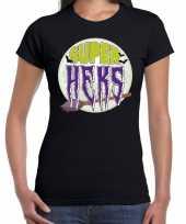 Halloween super heks horror shirt zwart dames carnavalskleding