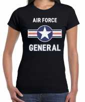 Luchtmacht piloot generaal carnavalskleding shirt zwart dames