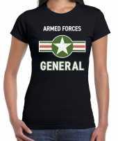Militair generaal carnavalskleding shirt zwart dames