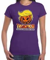 Trumpkin make halloween great again horror shirt paars dames carnavalskleding