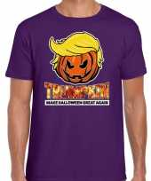 Trumpkin make halloween great again horror shirt paars heren carnavalskleding